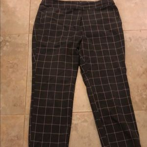 Loft gray and pink plaid pants 14